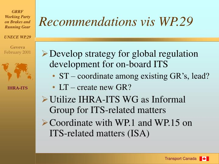 Recommendations vis WP.29