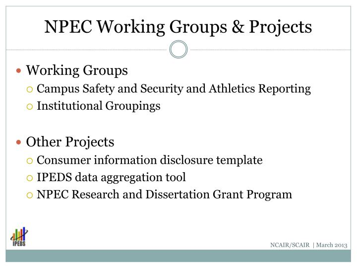 NPEC Working Groups & Projects