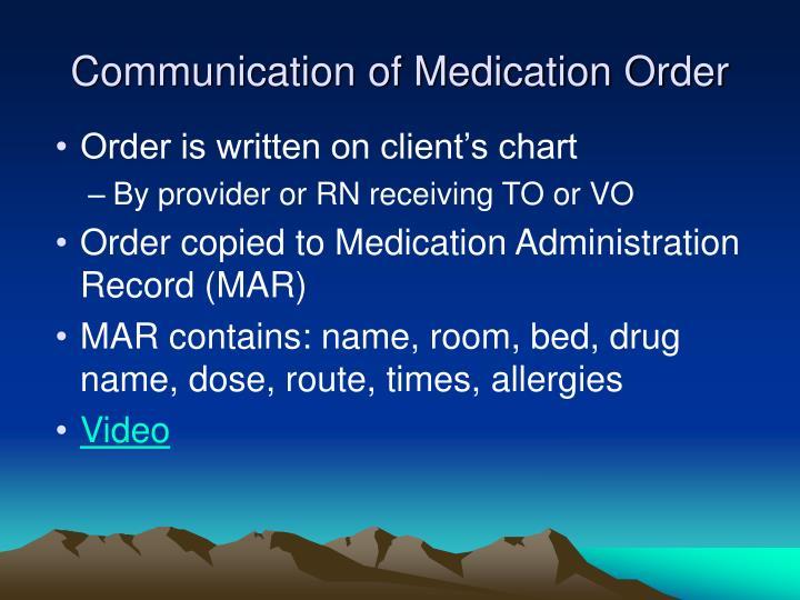 Communication of Medication Order