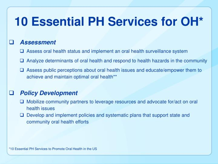 10 Essential PH Services for OH*