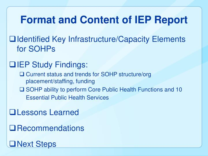 Format and Content of IEP Report