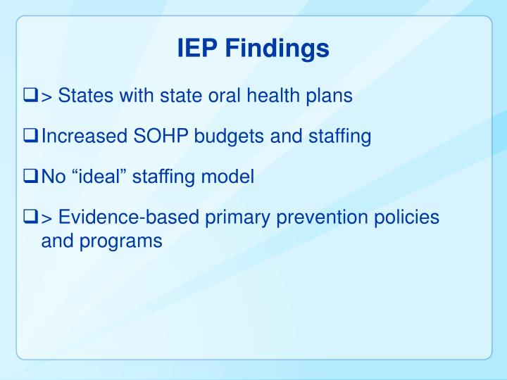 IEP Findings
