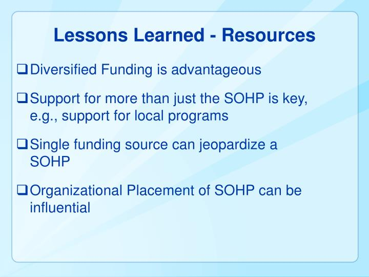 Lessons Learned - Resources