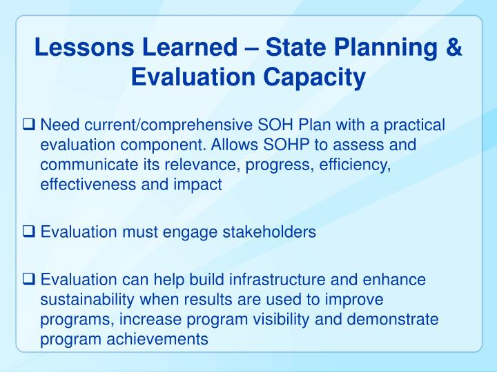 Lessons Learned – State Planning & Evaluation Capacity
