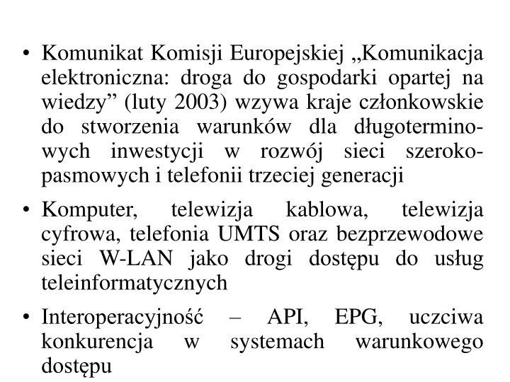 """Komunikat Komisji Europejskiej """"Komunikacja elektroniczna: droga do gospodarki opartej na wiedzy"""" (luty 2003)"""