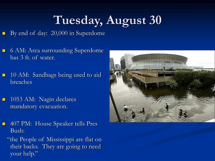Tuesday, August 30