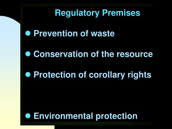 Regulatory Premises