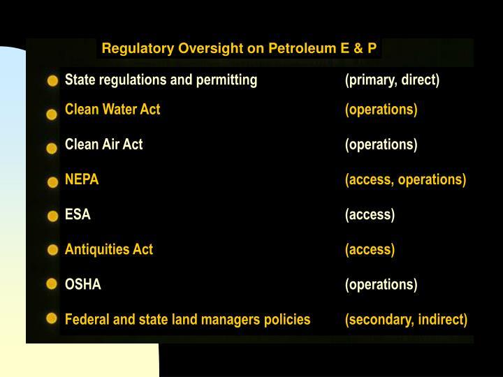 Regulatory Oversight on Petroleum E & P