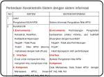 perbedaan karakteristik sistem dengan sistem informasi