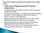 tugas dan tanggung jawab pemrogram dan analis sistem