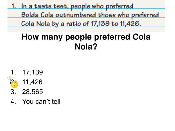 How many people preferred Cola Nola?