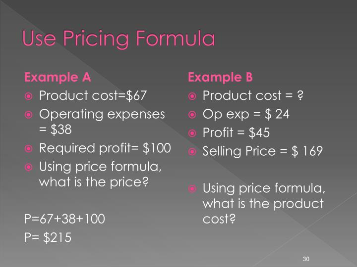 Use Pricing Formula