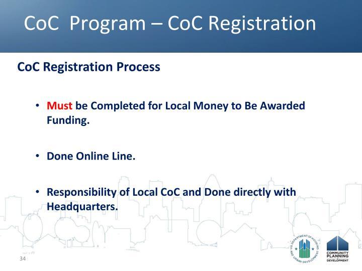 CoC  Program – CoC Registration