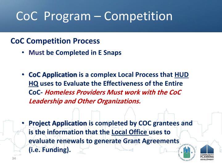 CoC  Program – Competition