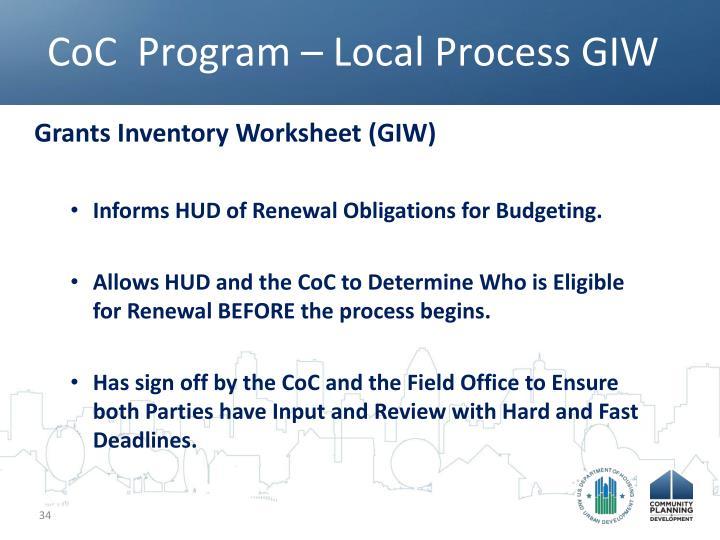 CoC  Program – Local Process GIW