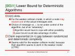 bgi1 lower bound for deterministic algorithms