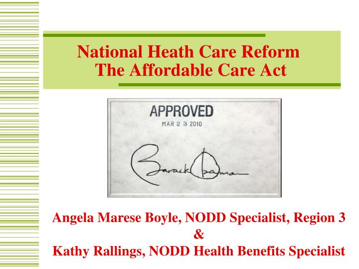 national heath care reform the affordable care act n.