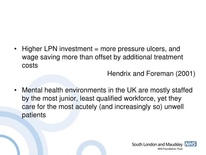 Higher LPN investment = more pressure ulcers, and wage saving more than offset by additional treatment costs