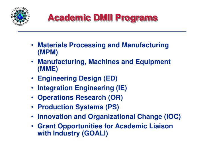 Materials Processing and Manufacturing (MPM)