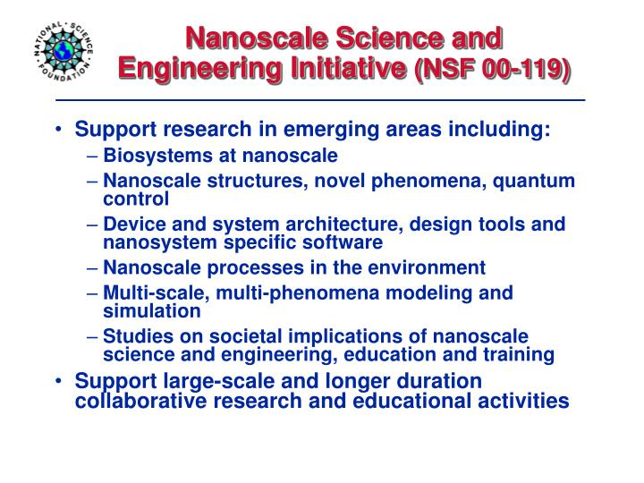 Nanoscale Science and Engineering Initiative