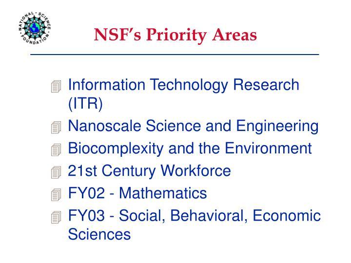 NSF's Priority Areas