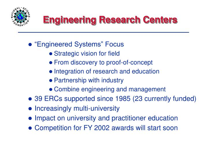 Engineering Research Centers