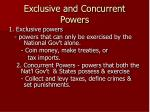 exclusive and concurrent powers