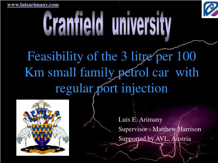 feasibility of the 3 litre per 100 km small family petrol car with regular port injection n.