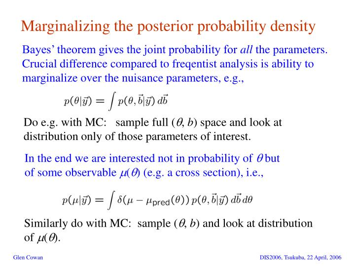 Marginalizing the posterior probability density