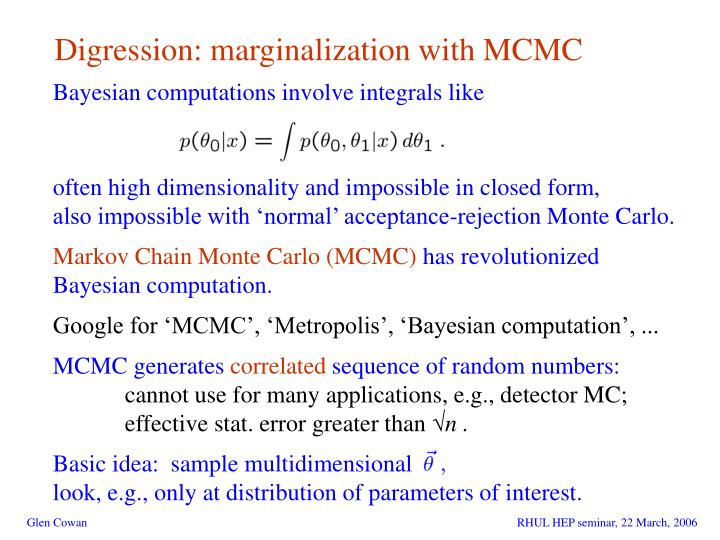 Digression: marginalization with MCMC