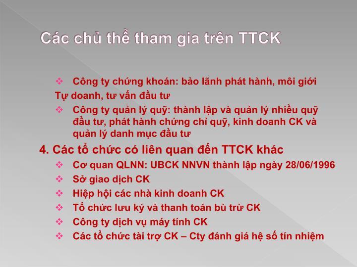 Các chủ thể tham gia trên TTCK