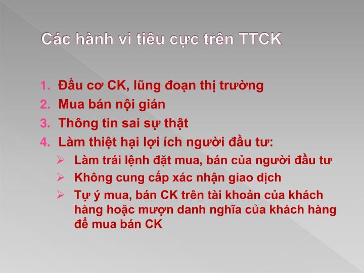 Các hành vi tiêu cực trên TTCK