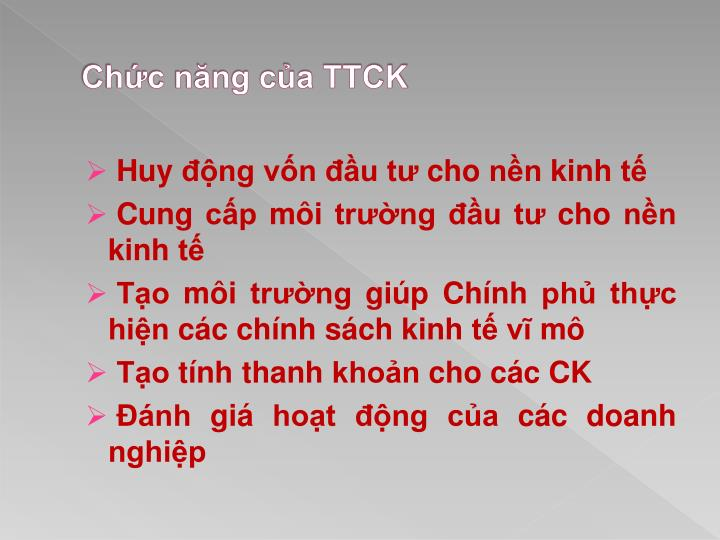 Chức năng của TTCK