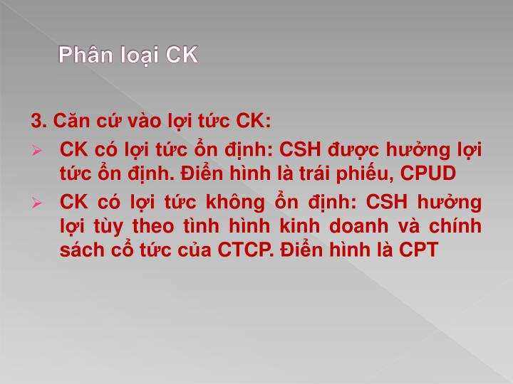 Phân loại CK