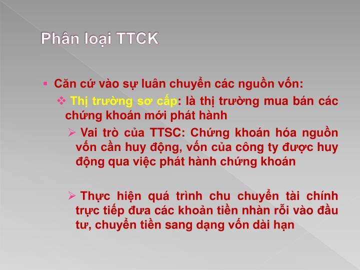 Phân loại TTCK