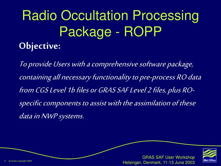 Radio occultation processing package ropp