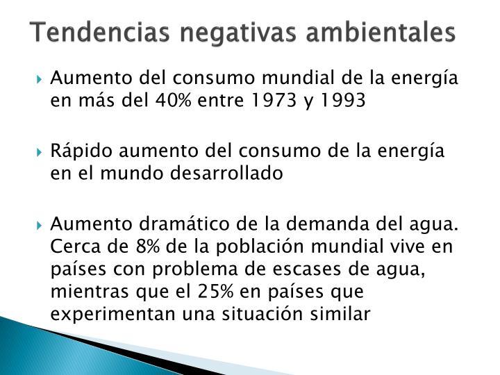 Tendencias negativas ambientales