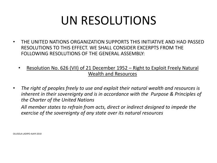 UN RESOLUTIONS