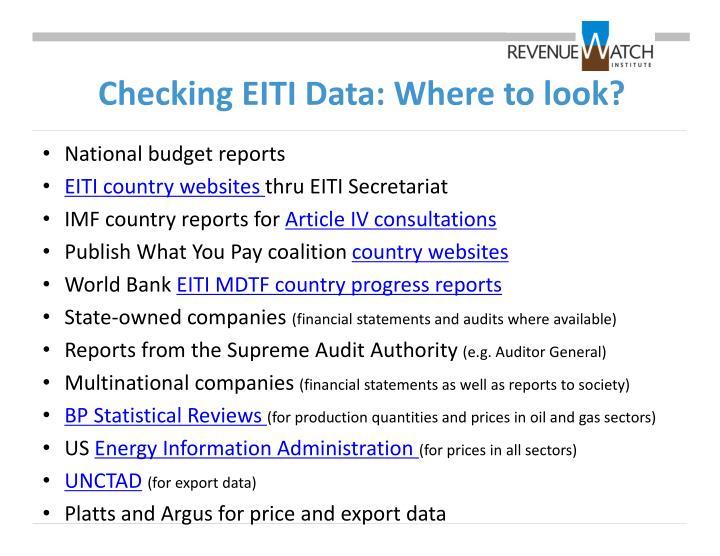 Checking EITI Data: Where to look?