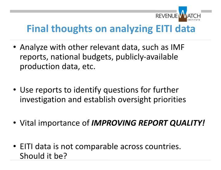 Final thoughts on analyzing EITI data