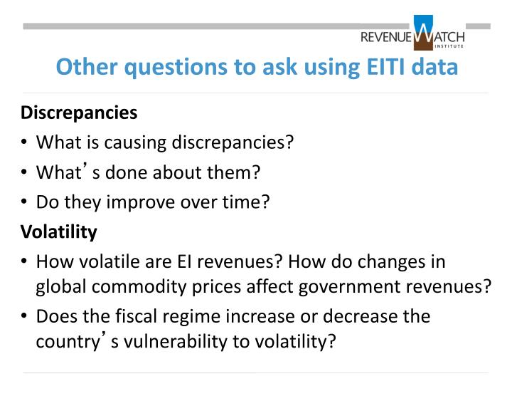 Other questions to ask using EITI data