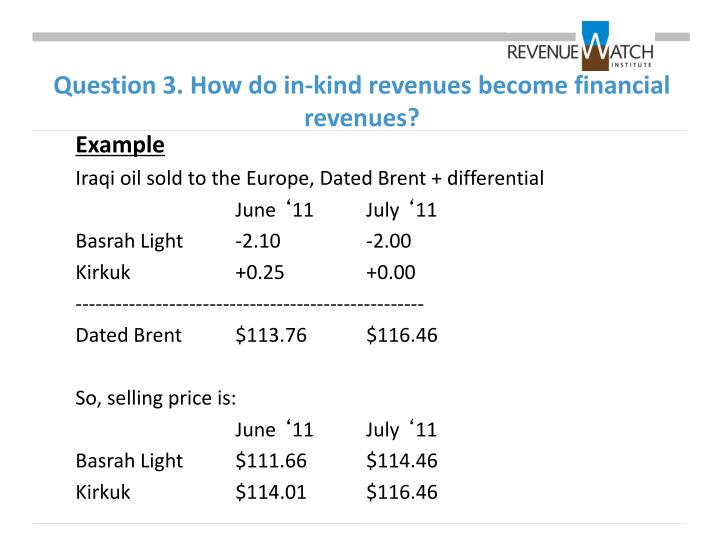 Question 3. How do in-kind revenues become financial revenues?