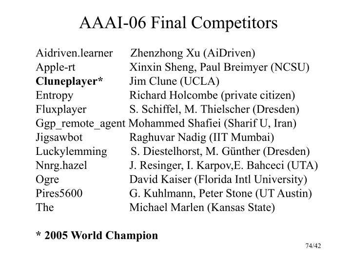 AAAI-06 Final Competitors