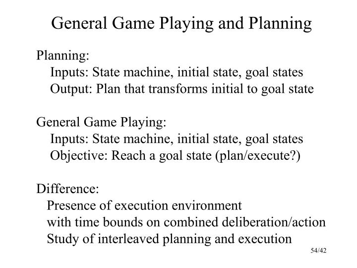 General Game Playing and Planning