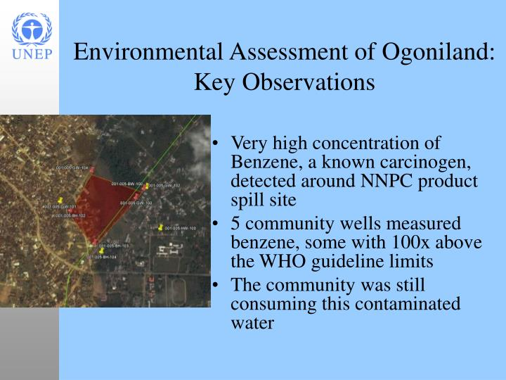 Very high concentration of Benzene, a known carcinogen, detected around NNPC product spill site
