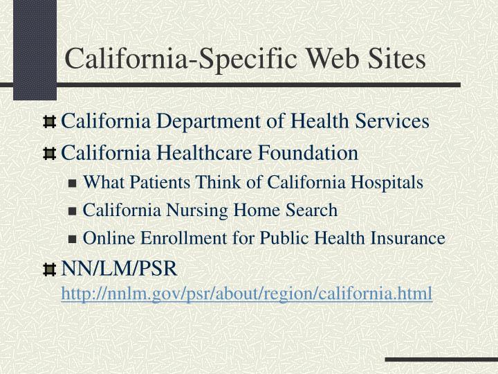 California-Specific Web Sites