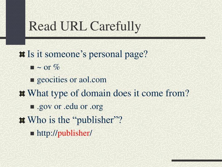 Read URL Carefully