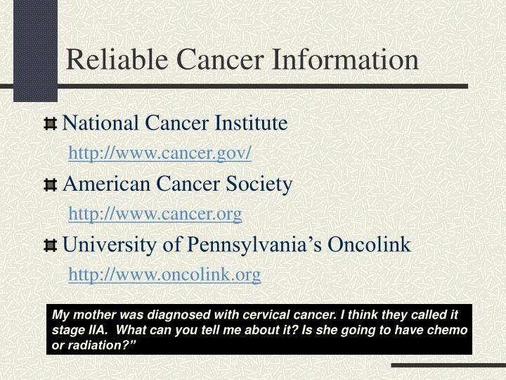Reliable Cancer Information