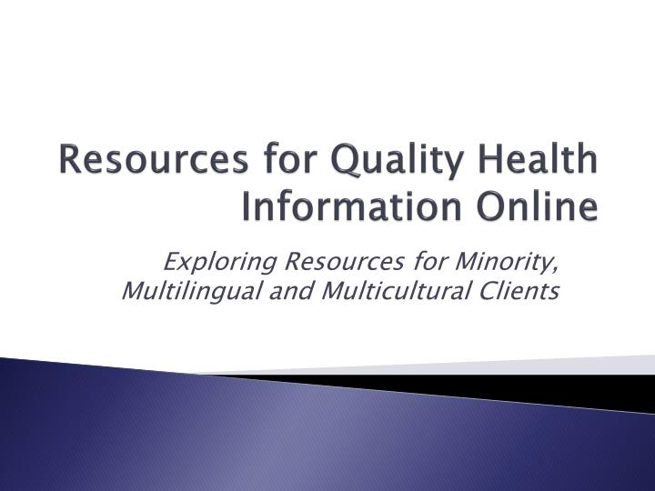 resources for quality health information online n.