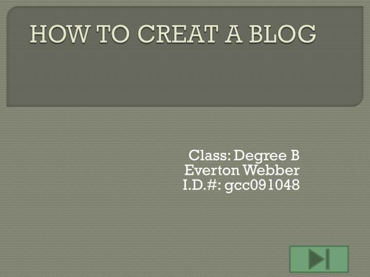 how to creat a blog n.